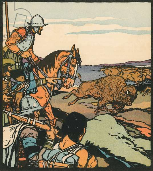 Explorers: Francisco Vasquez de Coronado in Kansas, 1931 (woodcut print)