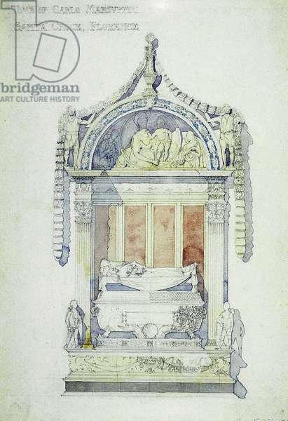 Tomb of Carlo Marsuppini, Santa Croce, Florence, 1891 (watercolor on paper)