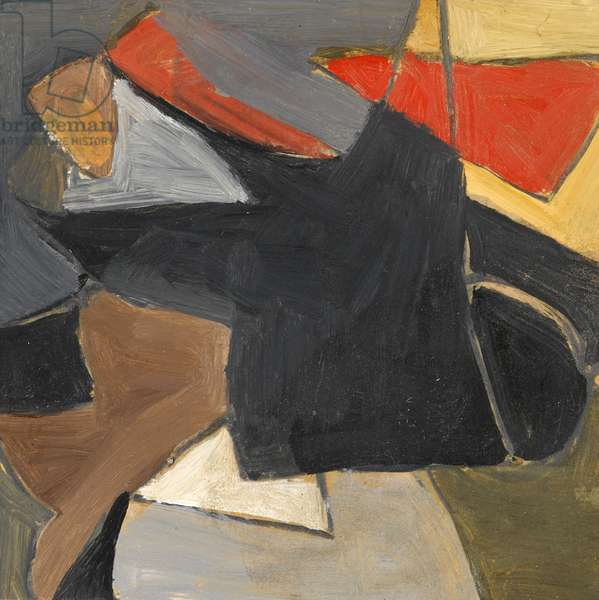 Untitled, black and red on mustard and grey, c.1970 (oil over pencil on paper)