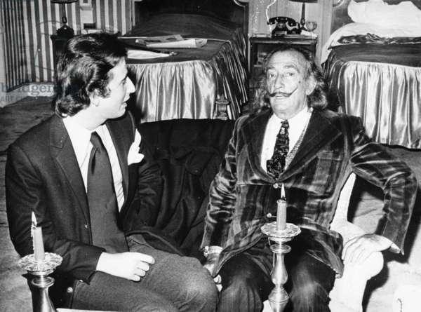 Salvador Dali, c.1970 (b/w photo)