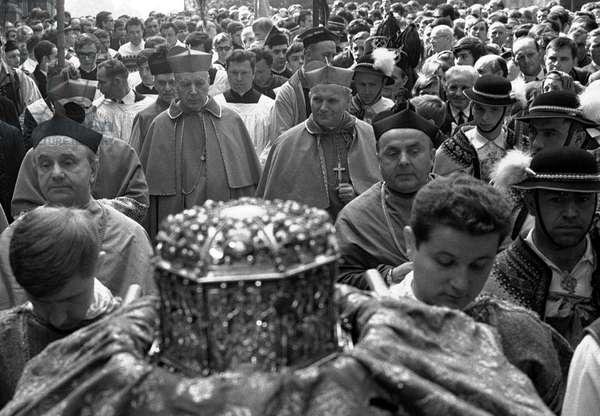 Poland, 1971. Cardinal Stefan Wyszynski and Karol Wojtyla (Pope John Paul II) procession of taking Saint Stanislaus' relics from Wawel to Skalka in Cracow.