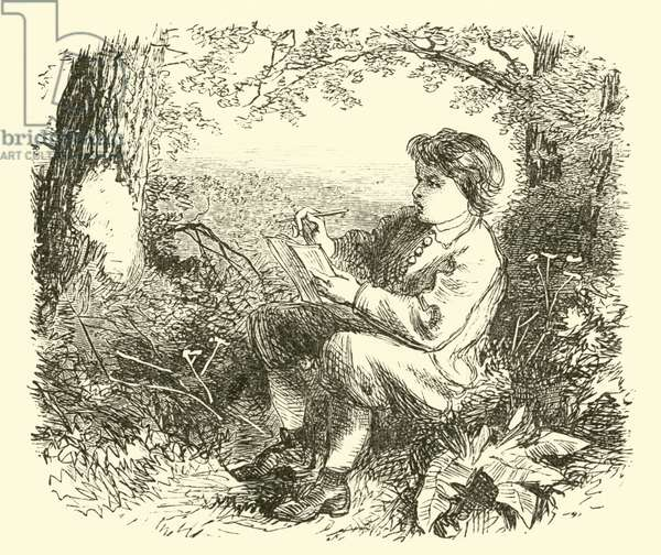 David Wilkie, the boy, studying from nature (engraving)
