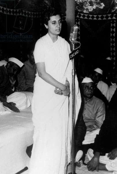 Indira Gandhi President of 65th session on Indian party, February 17, 1959