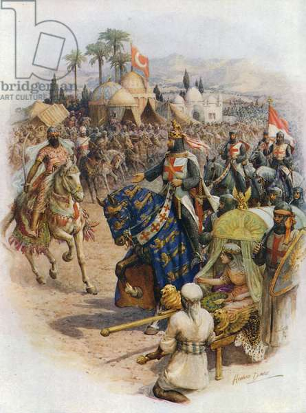 The meeting of Richard Coeur de Lion and Saladin (colour litho)