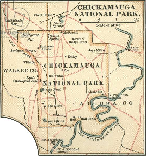 Map of Chickamauga National Park