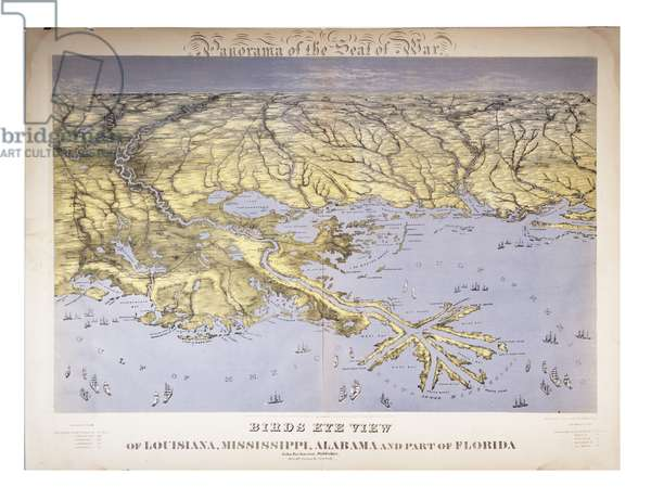 Panorama of the Seat of War: Birds Eye View Of Louisiana, Mississippi, Alabama And Part Of Florida, 1861 (colour litho)