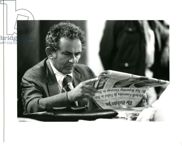 Norman Mailer during a break while covering the Watergate hearings as a member of the press corps, June 2626, 1973 (b/w photo)