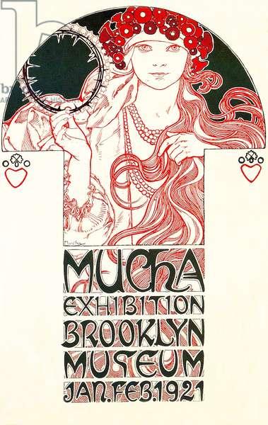 USA - Czechoslovakia: Art Nouveau poster for the Brooklyn Museum Alphonse Mucha Exhibition, New York, 1921 (colour litho)