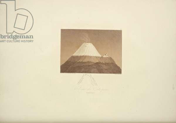 Volcano of Cotopaxi, drawn by Gmelin, engraved by Arnold, illustration from 'Vues des Cordillères et Monumens des Peuples Indigènes de l'Amérique' by Alexander von Humboldt and Aime Bonpland, 1813 (hand-coloured aqautint)