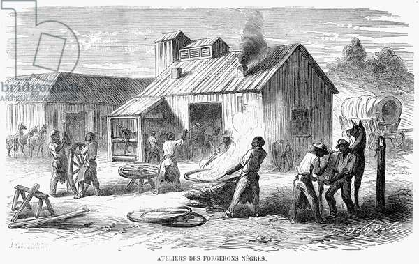 CIVIL WAR: BLACK TROOPS Black troops working in a Union Army forge during the American Civil War. Wood engraving, French, 1864.