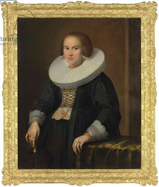Portrait of a young lady, half-length, holding a feather, c.1636 (oil on canvas)