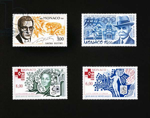 Stamp honoring Sacha Guitry (1885-1957), 1985, and stamp honoring Pierre de Coubertin (1863-1937), modern Olympics in 1892, 1992, Red Cross of Monaco, 1994, Fight against AIDS and Fight against cancer, Monaco, 20th century