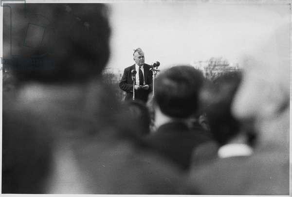 Harold Wilson in Hyde Park, London (b/w photo)