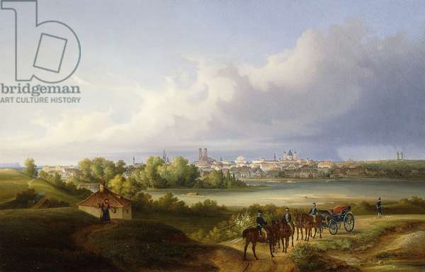 A View of Munich and the Isar River, 1838 (oil on canvas)