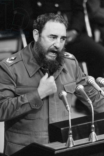 Fidel Castro the revolutionary communist Cuban leader addressing a congress