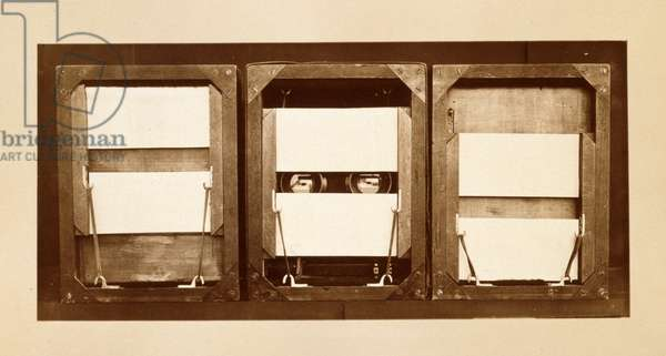 Front of electro-shutters, with positions of panels before, during, and after exposure used to shoot the  'Animal Locomotion' series, c.1881 (b/w photo)