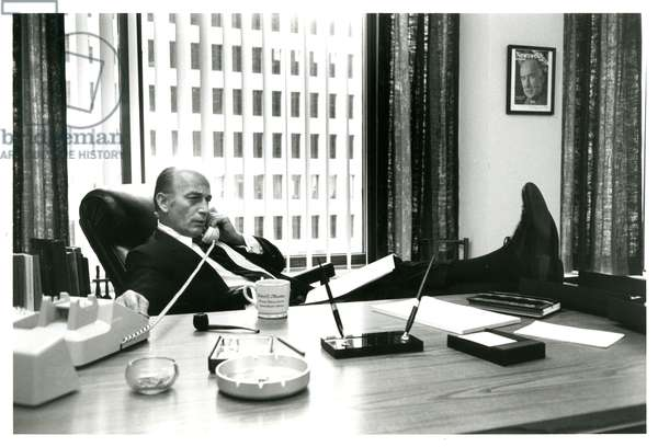Robert C. Mardian at his desk at the C.R.P. headquarters, 3rd July 1972
