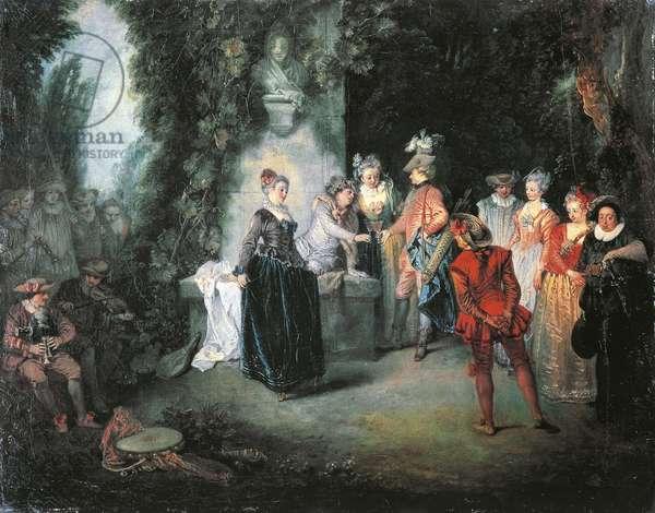 Love in French Theatre, by Jean-Antoine Watteau (1684-1721)