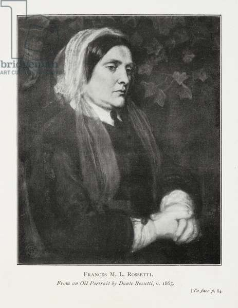 Frances M.L. Rossetti. from an oil portrait by Dante Rossetti, c.1865.