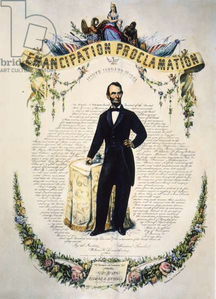 EMANCIPATION PROCLAMATION Commemoration of President Abraham Lincoln's Emancipation Proclamation of 1863. Lithograph, 1865.