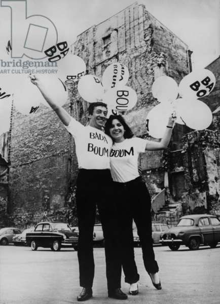 Serge Gainsbourg and Minouche Barelli Promoting The Single Boum Badaboum, Written For The Eurovision Song Contest, Representing Monaco, March 21, 1967 (b/w photo)