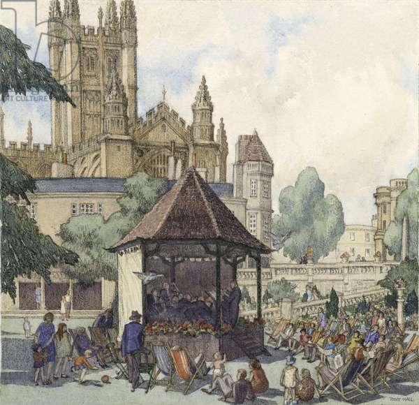 Bath Abbey from Parade Gardens, c.1930 (w/c on paper)