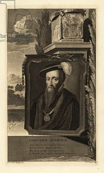 Portrait of Edward Seymour, 1st Duke of Somerset, Lord Protector of England. In cap with feather, fur-lined cape, medallion with knight in armour on ribbon, coat of arms. Copperplate engraving by Pieter Stevens van Gunst after Adriaen van der Werff from Isaac de Larrey's Histoire d'Angleterre, d'Ecosse et d'Irlande, Reinier Leers, Rotterdam, 1713.