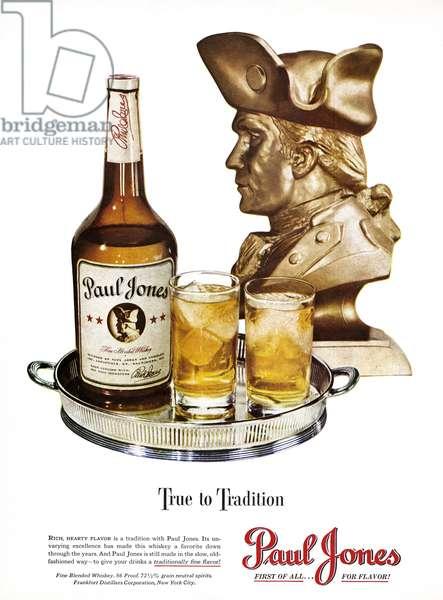 AD: WHISKEY, 1948 American advertisement for Paul Jones Whiskey. Illustration, 1948.