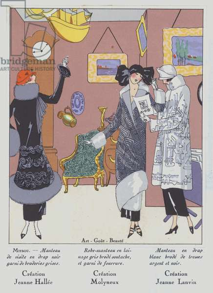 Women's fashion of the 1920s by designers Jeanne Hallee, Edward Molyneux and Jeanne Lanvin (colour litho)