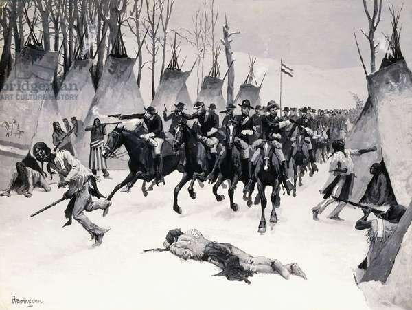 Battle of Washita, 1887-88 (oil en grisaille on board)