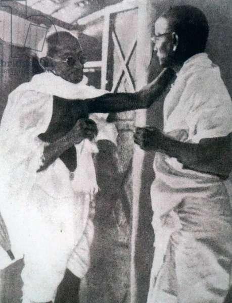 Vinayak Narahari 'Vinoba' Bhave with Mahatma Gandhi