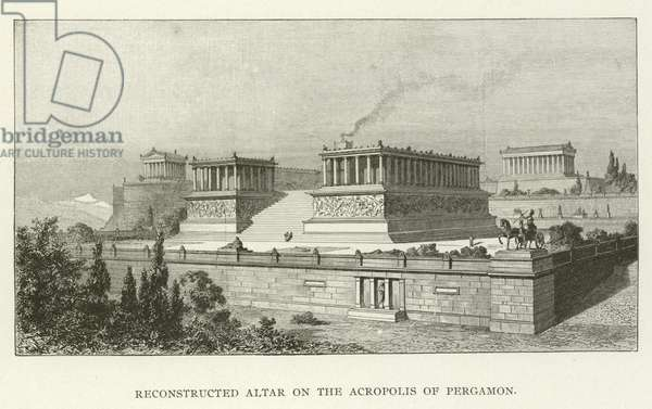 Reconstructed Altar on the Acropolis of Pergamon (engraving)