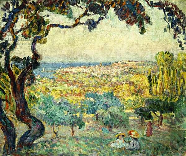Two Children in a Coastal Landscape; Deux Enfants dans un Paysage Maritime, (oil on canvas)