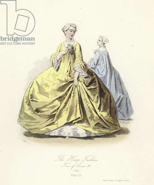 The hoop fashion, time of Lousi XV of France (coloured engraving)