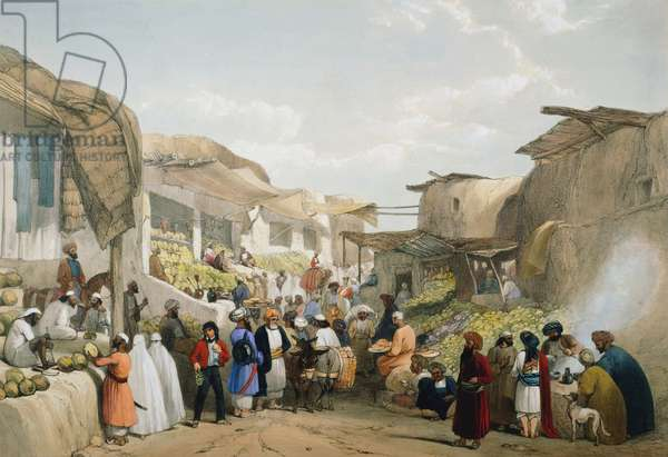 First Anglo-Afghan 1838-1842: Bazaar at Cabul (Kabul) during fruit season. Veiled women on right. Refreshment stall on left. From J Atkinson Sketches in Afghanistan London 1842. Hand-coloured lithograph.