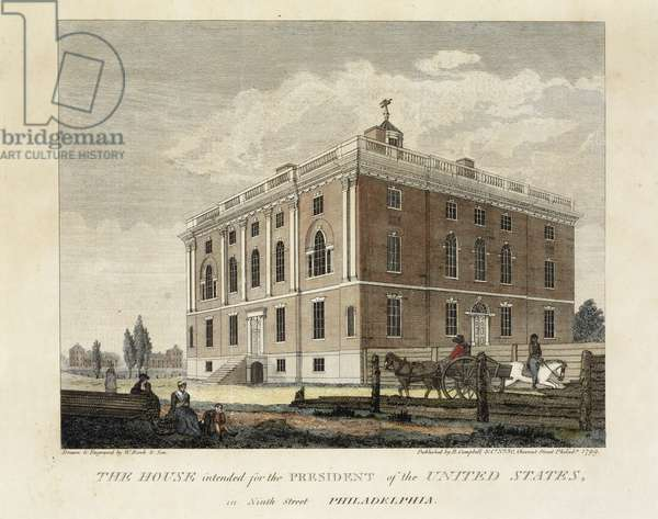 The House Intended for the President of the United States in Ninth Street Philadelphia, 1798-1799 (hand-coloured engraving on wove paper)