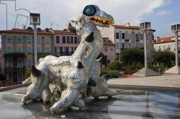 Niki de Saint Phalle sculpture, Moderna Atr Museum, Nice, Cote d'Azure, France