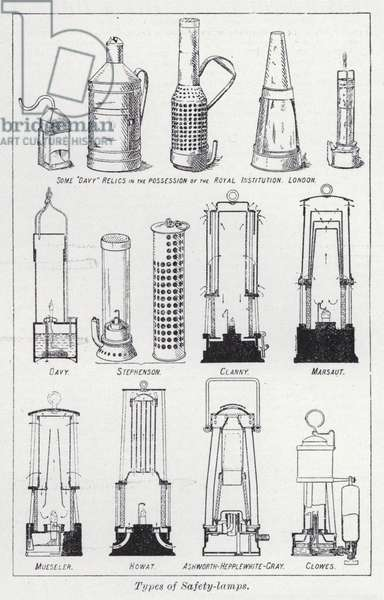 Types of safety-lamps (litho)