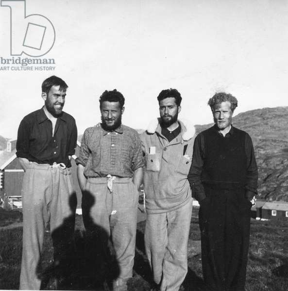 The Four of Greenland a few days after the end of their TransGreenland. From g to d: Michel Perez, Paul-Emile Victor, Robert Gessain, Eigil Knuth, Ammassalik, Greenland, July 1936 (b/w photo)