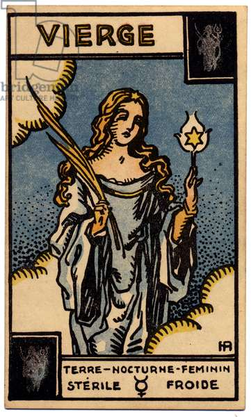 Paranormal. Astrology. Virgo (the Maiden). Astrologic card from: Le Tarot Astrologique (Astrological Tarot), by Georges Muchery, France, 1927