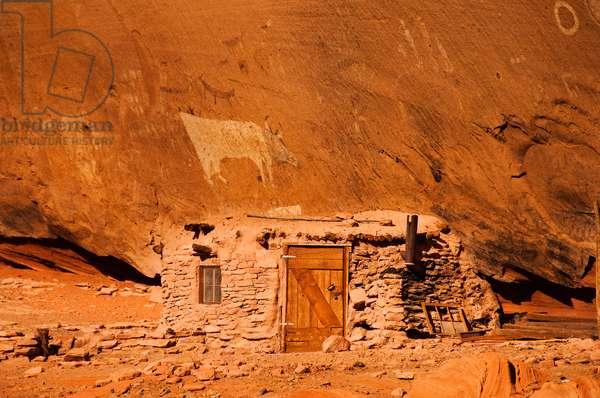 Ancient Navajo cliff dwelling and petroglyphs (photo)