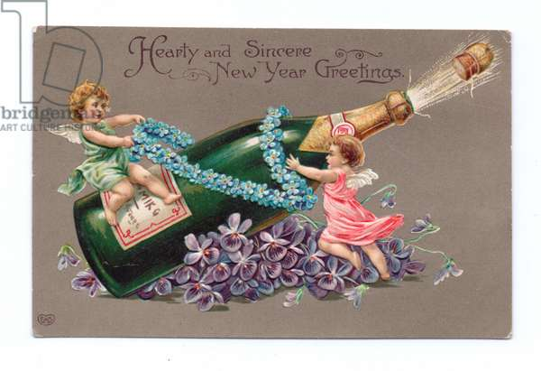 Edwardian New Year postcard of two angels, one on a champagne bottle, c.1910 (colour litho)