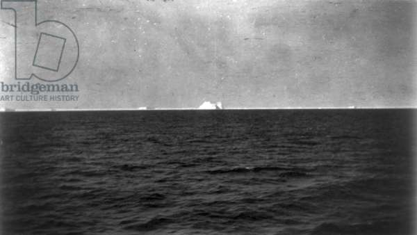 TITANIC: ICEBERG, 1912 View from the rescue ship 'Carpathia' of the iceberg which sank the 'Titanic.' Photographed 27 May 1912.