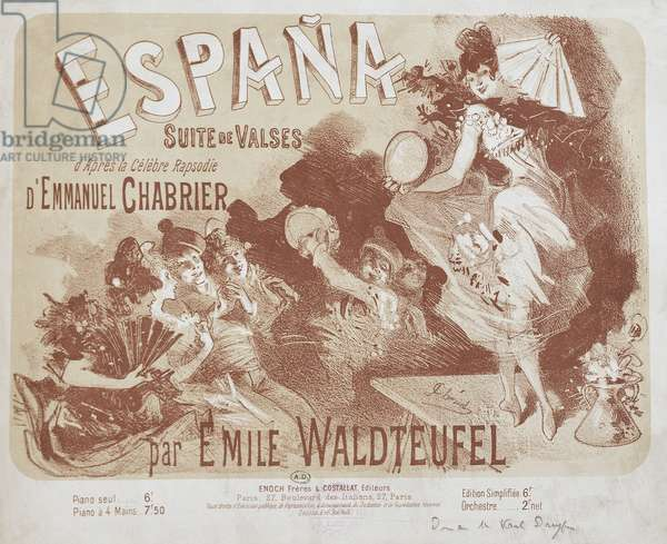 Title page of Espana, rhapsody for orchestra by Emmanuel Chabrier, 1883