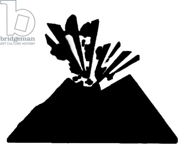 Sign for Eruptive Volcano, 1994 (silkscreen sticker)