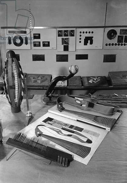 CHICAGO: NEW BAUHAUS Tactile charts and colour charts in a studio at the New Bauhaus in Chicago, Illinois. Photograph, c.1940.