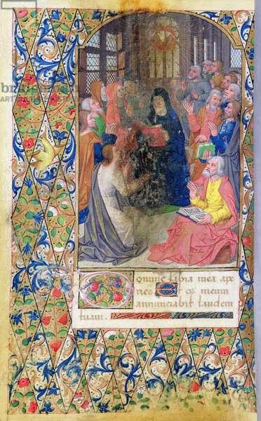 Ms 82/1400 fol.54v Pentecost, from the 'Heures de Seguier' (vellum)