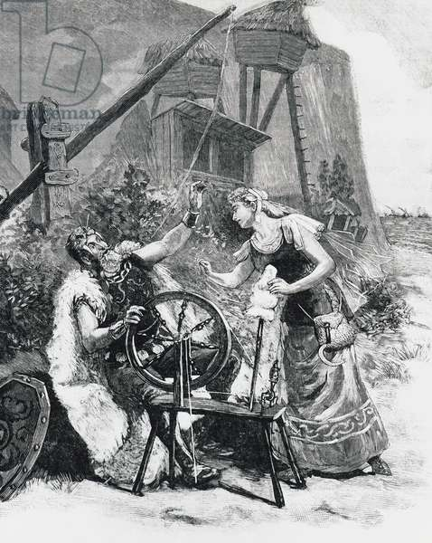 Wool spinning, scene from Gwendoline, by Alexis Emmanuel Chabrier (1841-1894), represented at Opera of Paris, drawing by Paul Destez, France, 19th century