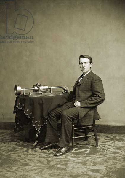 Thomas Edison with His Phonograph, 1870-80 (glass plate photograph)