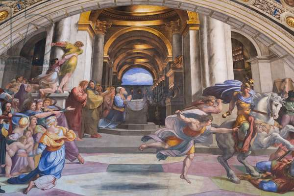 The expulsion of Heliodorus from the temple, room of Heliodorus, 1311-12 (fresco)